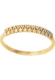 Anel Em Ouro Amarelo 18K Com Diamante - Meia Aliança 14