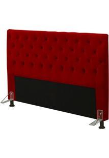 Cabeceira Cama Box Casal King 195Cm Cristal Suede Vermelho - Js Móveis