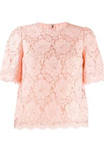 Dolce & Gabbana Blusa Com Renda E Detalhe Ondulado - Rosa