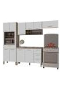 Cozinha Modulada Ametista 4 Módulos Composição 3 Nogal/Branco - Kit'S Paraná