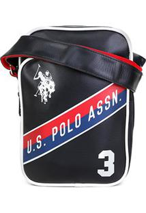 Bolsa Shoulder Bag U.S. Polo Assn Lateral Masculina - Masculino-Preto