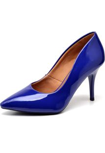 Scarpin Casual Ellas Online Salto Mã©Dio Azul - Azul - Feminino - Dafiti