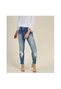 Calça Jeans Destroyed Cigarrete Feminina Barra Desfiada Biotipo