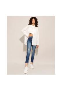 Calça Skinny Jeans Lipo Push Up Destroyed Cintura Super Alta Sawary Azul Médio
