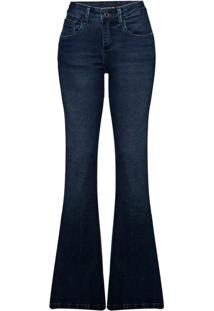 291e250aa Calça Jeans Feminina Flare Em Algodão Com Lavação Estonada