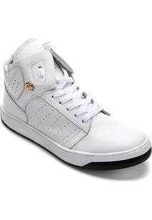 Tênis Couro Cano Alto Hardcorefootwear Perfuros Feminino - Feminino-Branco