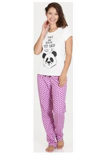 Pijama Feminino Estampa Panda Manga Curta Marisa