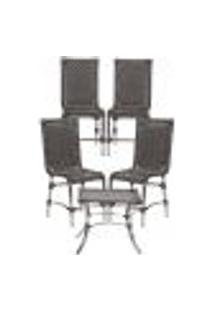 Jogo Cadeiras 4Un E Mesa De Centro Sevilha Para Edicula Jardim Area Varanda Descanso - Tabaco