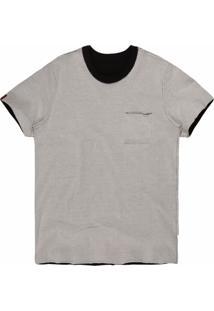 Camiseta Khelf Bolso Dupla Face Preto/Creme