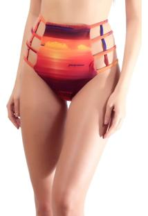 Calcinha Hot Pants Romance Brazil Strappy Quadrado Multicolorido