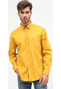 Camisa Slim Fit Em Sarja Com Bolso - Amarelaaramis