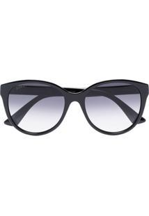 Gucci Eyewear Óculos De Sol Redondo Degradê - Preto