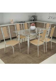 Conjunto Mesa Elba Com Tampo De Vidro E 6 Cadeiras Lisboa Cromado, Assento Cor Nude