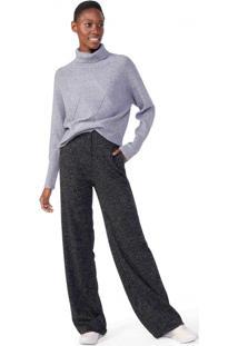 Calça Pantalona Malha Lurex