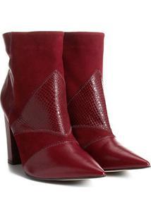 Bota Couro Cano Curto Shoestock Patchwork Feminina - Feminino