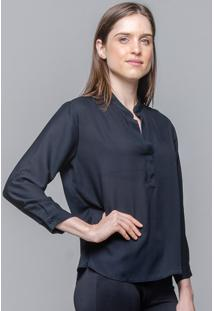 Camisa 101 Resort Wear Crepe Lisa Polo Preto