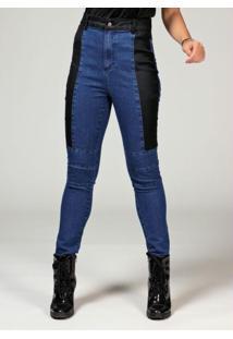 Calça Jeans Com Sarja Resinada Nas Laterais