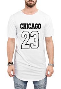 Camiseta Criativa Urbana Long Line Oversized Chicago 23 - Masculino