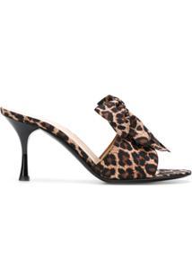 480218723 Com Salto; Salto Baixo. Les Chaussons De La Belle Sapato Mule Animal Print  - Marrom