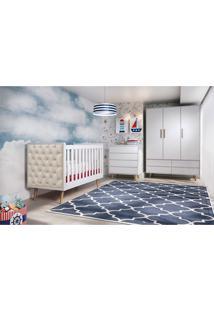 Dormitório Lorena Guarda Roupa 3 Portas Comoda 4 Gavetas Berço Lorena C/ Capitone Carolina Baby