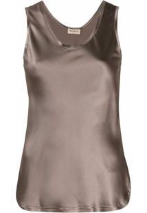Blanca Vita Camisola Com Decote Em U - Marrom