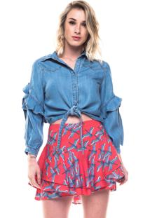Camisa Poemahit Jeans Cropped Laço Azul
