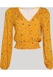 Blusa Feminina Cropped Estampada Floral Com Botões E Lastex Manga Longa Decote V Mostarda