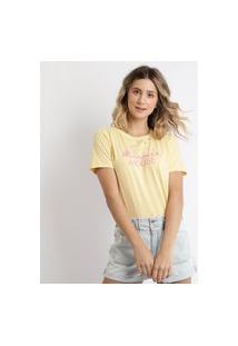 Blusa Feminina Minnie Manga Curta Amarelo Claro