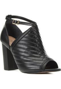 Sandália Couro Shoestock Matelassê Salto Bloco Alto Feminina - Feminino-Preto