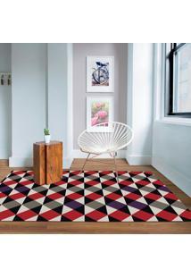 Tapete Geométrico Triângulos Antiderrapante 100X140Cm Vermelho E Roxo Casa Dona