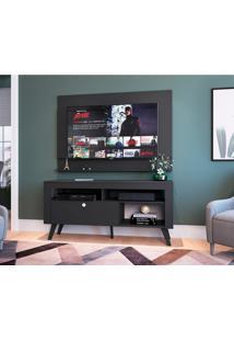 Rack Com Painel Para Tv Até 55 Polegadas Dinamarca Preto 136 Cm