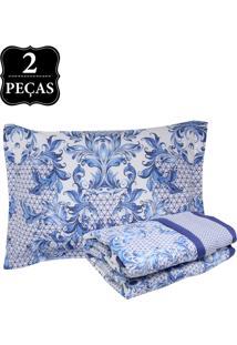 Kit 2Pçs Colcha Solteiro Buddemeyer Sicilia Percal Confort 200 Fios Azul