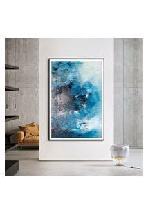 Quadro Com Moldura Chanfrada Abstrato Azul Com Cinza Pequeno