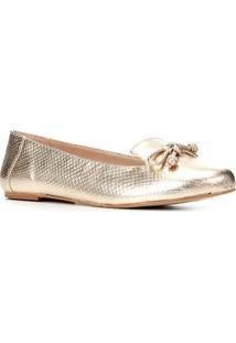 Sapatilha Shoestock Cobra Loafer Feminina - Feminino-Dourado