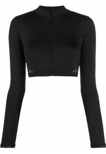 Stella Mccartney Blusa Cropped Com Recorte De Mesh - Preto