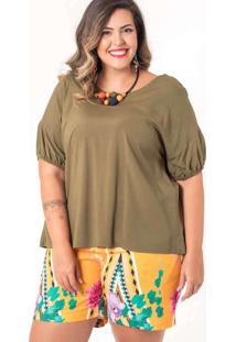 Blusa Ampla Almaria Plus Size Munny Detalhe Poster