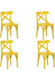 Kit 4 Cadeiras Decorativas Crift Amarelo - Gran Belo