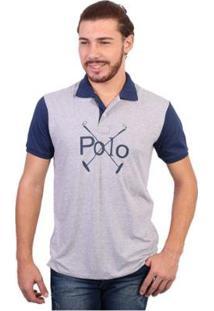 Camisa Polo England Polo Club Polos Masculina - Masculino-Cinza