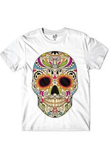 Camiseta Long Beach Caveira Floral Sublimada Masculina - Masculino-Branco
