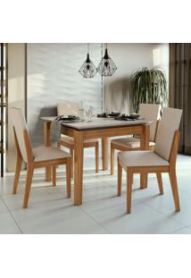 Conjunto De Mesa De Jantar Aries Com 4 Cadeiras Lira Linho Off White E Bege