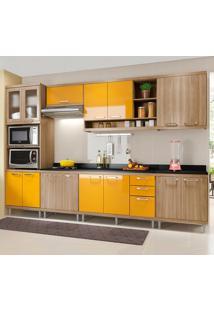 Cozinha Completa Com Tampo 15 Portas 3 Gavetas 5835 Argila/Amarelo - Multimóveis