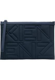 Kenzo Bolsa Matelassê Com Logo Bordado - Azul