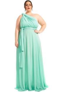 Vestido Plus Size Longo Infinity Lala Dubi Dress - Feminino-Verde Claro