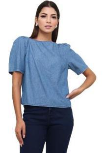 Blusa Jeans Sisal Jeans Manga Bufante Feminina - Feminino-Azul