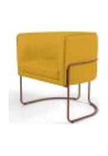 Poltrona Decorativa Fixa Base De Aço Cobre Betina D02 Linho Amarelo B-228 - Lyam Decor