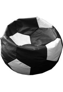 Puff Ball Futebol Infantil Em Corino Preto E Branco