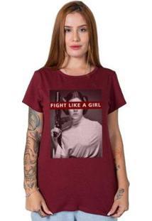 Camiseta Stoned Fight Like A Girl Feminina - Feminino-Bordô