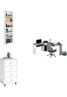 Escritório Completo Madeiramadeira Com Gaveteiro 4 Gavetas Mesa Em L E Estante 424493 Branco