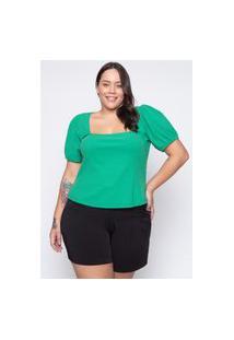 Blusa Almaria Plus Size Tal Qual Malha Justa Verde