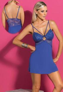 Camisola Com Detalhe De Tiras E Renda Azul